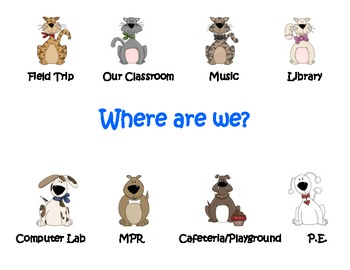 """Where are we?"" door sign to show location (cat and dog theme)"