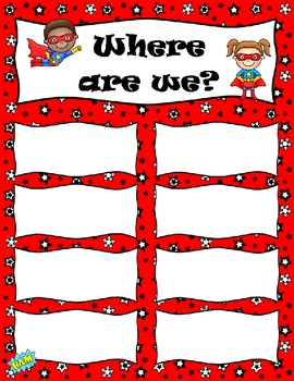 Super Hero Themed Where are We Sign