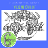 Where are you from? ESL EFL Conversation Classroom Coloring Activity
