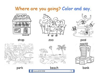 Where are you going? Colour and say.