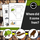 Where did it come from? -Worksheets (Materials, Objects an