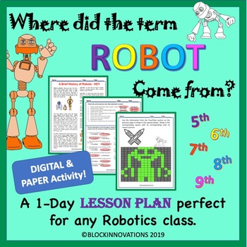 Substitute Robotics Lesson Plan with Pixel Art