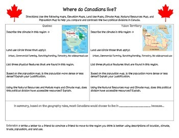 Where do Canadians Live Differentiated Activity