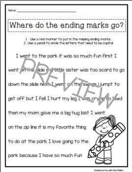Where do ENDING MARKS go?