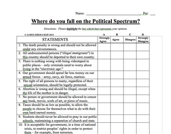 photo relating to Political Party Quiz for Students Printable known as Political Spectrum Worksheets Schooling Products TpT