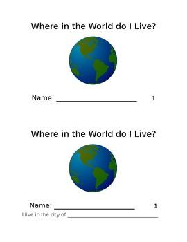 Where in the World Do I Live? Mini book