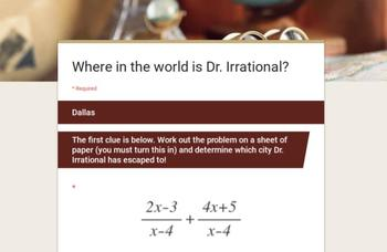 Where in the World is Dr. Irrational? A Rational Expressions Adventure