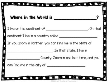 Where in the World is... Fill In Sheet