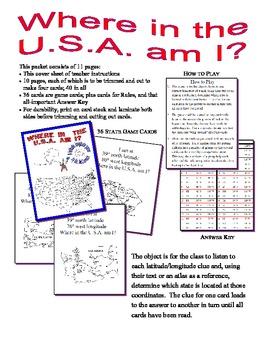 Where inThe USA Am I?  Card Game