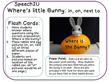 Where is Bunny: Prepositions: In, on, next to, Speech Therapy