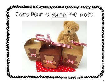Where is Claire Bear?  a book about prepositions for PreK-1st grade
