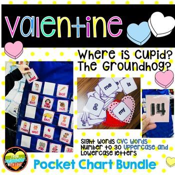 Where is Cupid? GroundHog? Pocket Chart Bundle