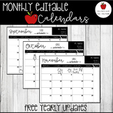 Editable Monthly Calendar-Free Updates