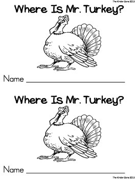 Where is Mr. Turkey? Positional Word Emergent Reader Book * Read to Self
