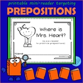 Preposition Mini-Reader Where is Mrs. Heart? Speech Therapy