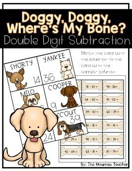 Where is My Bone? - Double Digit Subtraction Math Center