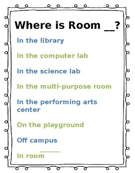 Where is Room ___? Sign PPT *editable*