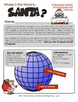 Where is Santa? A Fun Geography Activity on Latitude and Longitude for  Gr. 3-6