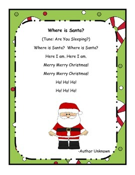 Christmas Activity - Where is Santa?  Song Activity