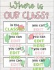 Where is our class? Watercolor cactus door sign