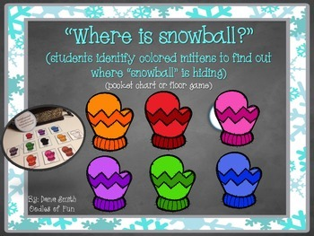 """Where is snowball?"" (idenitfy colored mitten game)"