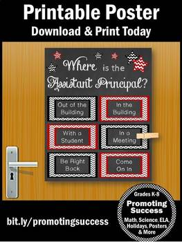 Where is the Assistant Principal Poster, Red and Black, Office Door Sign