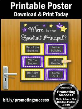 Where is the Assistant Principal Sign, Purple & Yellow, Office Decor Door Poster