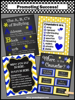 Blue and Yellow Where is the Counselor Sign, Confidentiality Rules NOT EDITABLE