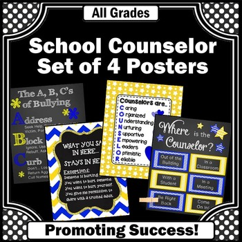 School Counselor Door Signs Yellow and Blue Decor ~ Nation