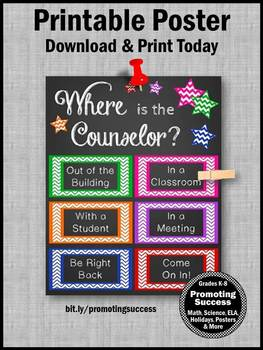 Where is the Counselor Sign, Counseling Office Decor 8x10 or 16x20