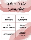 Where is the Counselor, Psychologist, or SLP? door sign (pink watercolor)