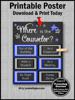 Where is the Counselor Sign, BLUE Counseling Office Decor, Appreciation Gift