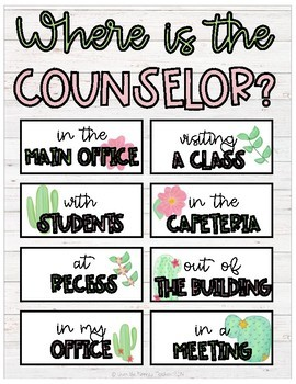 Where is the Counselor? Watercolor Cactus Door Sign