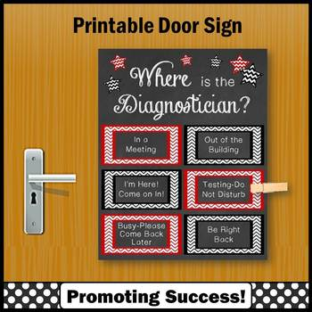where is the diagnostician sign red and black office door not editable
