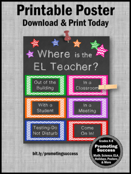 Where is the EL Teacher Door Sign, English Language Classroom Poster