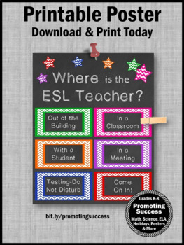 Where is the ESL Teacher Door Sign, NOT EDITABLE