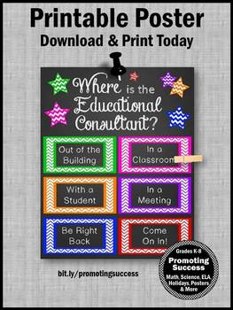 Where is the Educational Consultant Sign, Consultant Office Decor, Door Poster