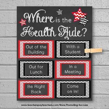Health Aide Office Door Sign, Nursing Gift Idea, School Health Aide Nurse Office