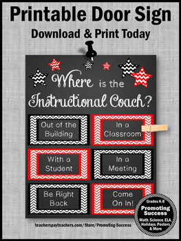Where is the Instructional Coach Door Sign, NOT Editable