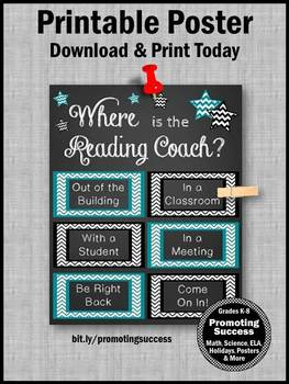Where is the Reading Coach Sign, Teal and Black, NOT EDITABLE Door Sign