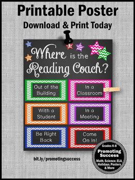 Where is the Reading Coach Sign, Colorful Door Poster