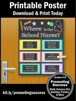 Where is the School Nurse Door Sign, Colorful Nursing Office Decor Poster