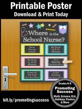 Where is the School Nurse Door Sign, OWL Nursing Office Decor Poster