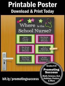 Where is the School Nurse Door Sign, Pink & Green Nursing Office Decor Poster