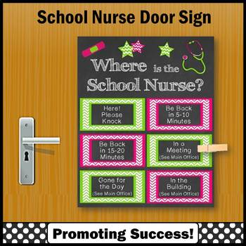 where is the school nurse sign 8x10 or 16x20 office door not editable