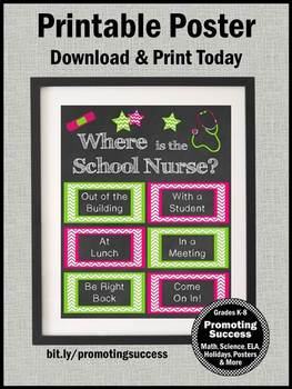 Where is the School Nurse Sign, Pink & Green, Office Door Poster 8x10 or 16x20
