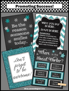 Where is the Social Worker Sign Confidentiality Rules Poster Teal and Black