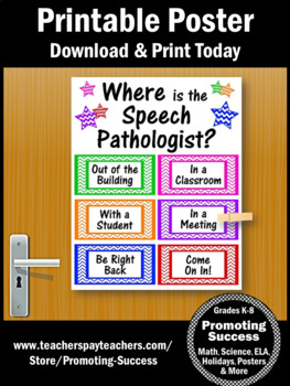Where is the Speech Pathologist Sign, NOT EDITABLE