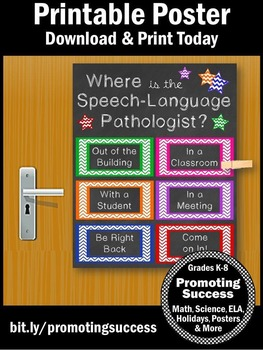 Where is the Speech and Language Pathologist Door Sign, SLP NOT EDITABLE