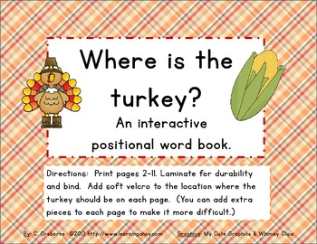 Positional word interactive book: Where is the turkey?